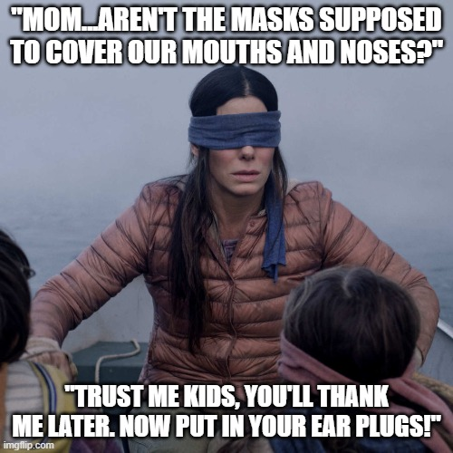 "Bird Box |  ""MOM...AREN'T THE MASKS SUPPOSED TO COVER OUR MOUTHS AND NOSES?""; ""TRUST ME KIDS, YOU'LL THANK ME LATER. NOW PUT IN YOUR EAR PLUGS!"" 