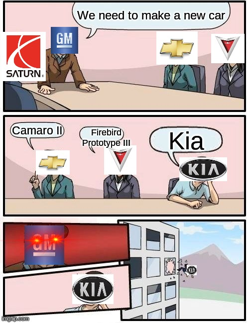 Kia Sucks!!!!!!!!!!!!!!!!!!!!! |  We need to make a new car; Camaro II; Firebird Prototype III; Kia | image tagged in memes,boardroom meeting suggestion | made w/ Imgflip meme maker