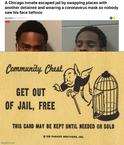 Man gets out of jail | image tagged in get out of jail free card monopoly,savage | made w/ Imgflip meme maker