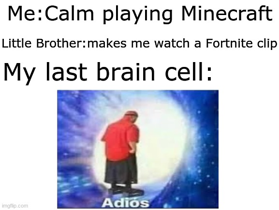 Fortnite Sucks |  Me:Calm playing Minecraft; Little Brother:makes me watch a Fortnite clip; My last brain cell: | image tagged in fortnite sucks,minecraft,memes,funny,little brother | made w/ Imgflip meme maker