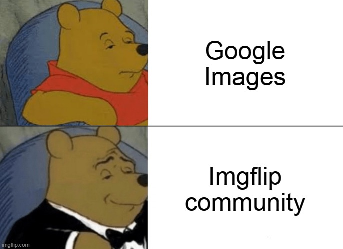 Imgflip.com=best memes |  Google Images; Imgflip community | image tagged in memes,tuxedo winnie the pooh | made w/ Imgflip meme maker