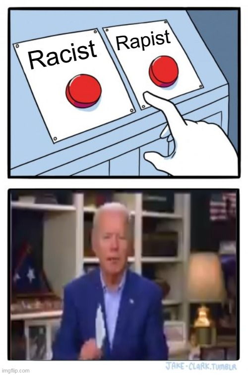 Decidin Joe Biden |  Rapist; Racist | image tagged in memes,two buttons | made w/ Imgflip meme maker