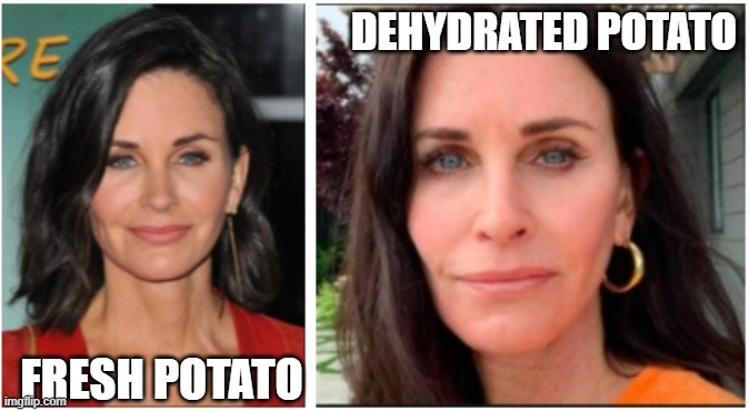 Courtney Potato |  DEHYDRATED POTATO; FRESH POTATO | image tagged in courtney cox,potato,root vegetables,celebrity,friends | made w/ Imgflip meme maker