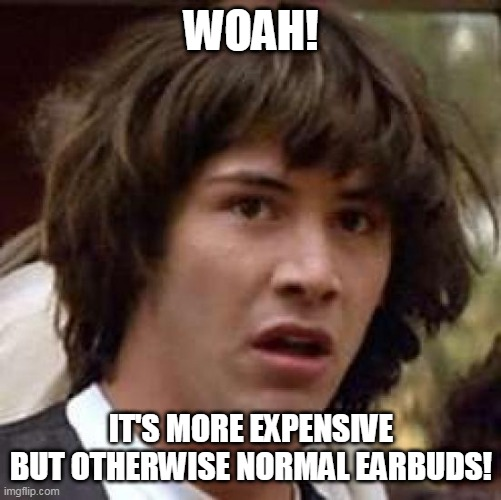 Conspiracy Keanu Meme | WOAH! IT'S MORE EXPENSIVE BUT OTHERWISE NORMAL EARBUDS! | image tagged in memes,conspiracy keanu | made w/ Imgflip meme maker