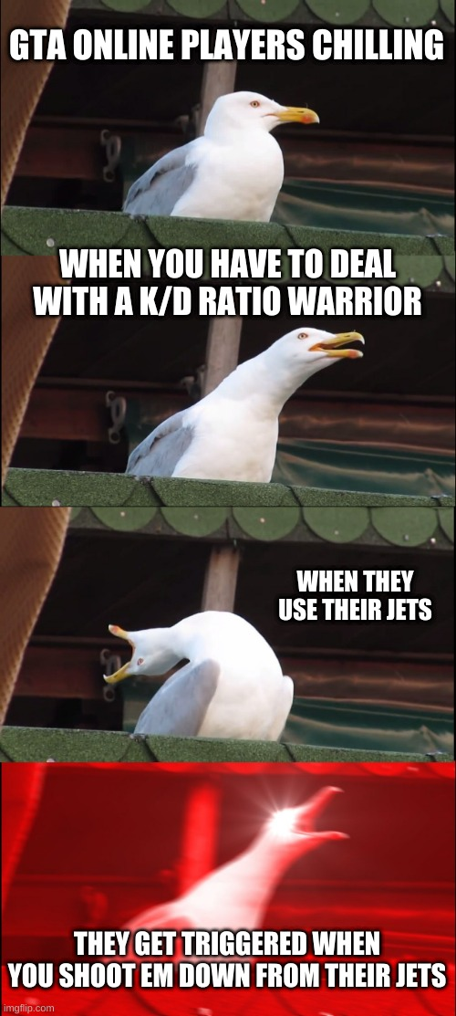 GTA |  GTA ONLINE PLAYERS CHILLING; WHEN YOU HAVE TO DEAL WITH A K/D RATIO WARRIOR; WHEN THEY USE THEIR JETS; THEY GET TRIGGERED WHEN YOU SHOOT EM DOWN FROM THEIR JETS | image tagged in memes,inhaling seagull,gta 5,gta5,gta online | made w/ Imgflip meme maker