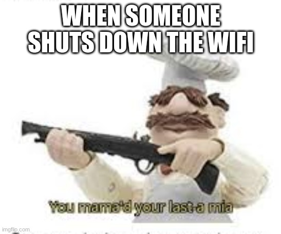 Memes dont need titles |  WHEN SOMEONE SHUTS DOWN THE WIFI | image tagged in you've mama'd your last a mia | made w/ Imgflip meme maker