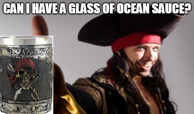 pirate thumbs up | CAN I HAVE A GLASS OF OCEAN SAUCE? | image tagged in pirate thumbs up | made w/ Imgflip meme maker