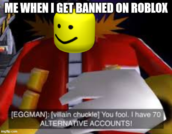 Eggman Alternative Accounts |  ME WHEN I GET BANNED ON ROBLOX | image tagged in eggman alternative accounts | made w/ Imgflip meme maker