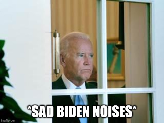 sad biden | *SAD BIDEN NOISES* | image tagged in sad biden | made w/ Imgflip meme maker