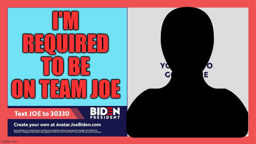 Biden is a racist |  I'M REQUIRED TO BE ON TEAM JOE | image tagged in i'm on team joe biden,you aint black,dementia joe,racist joe biden | made w/ Imgflip meme maker