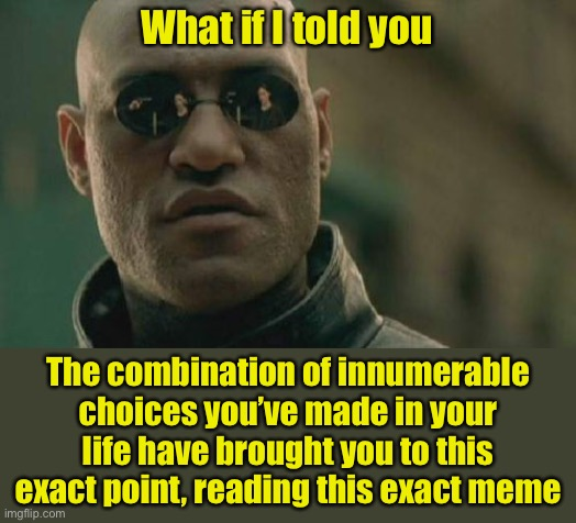 Choices |  What if I told you; The combination of innumerable choices you've made in your life have brought you to this exact point, reading this exact meme | image tagged in memes,matrix morpheus,pro choice,whoa | made w/ Imgflip meme maker