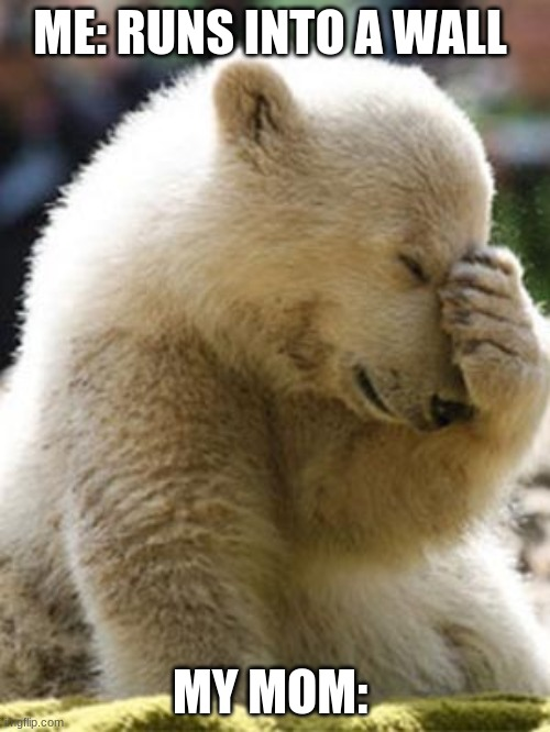 Facepalm Bear |  ME: RUNS INTO A WALL; MY MOM: | image tagged in memes,facepalm bear | made w/ Imgflip meme maker