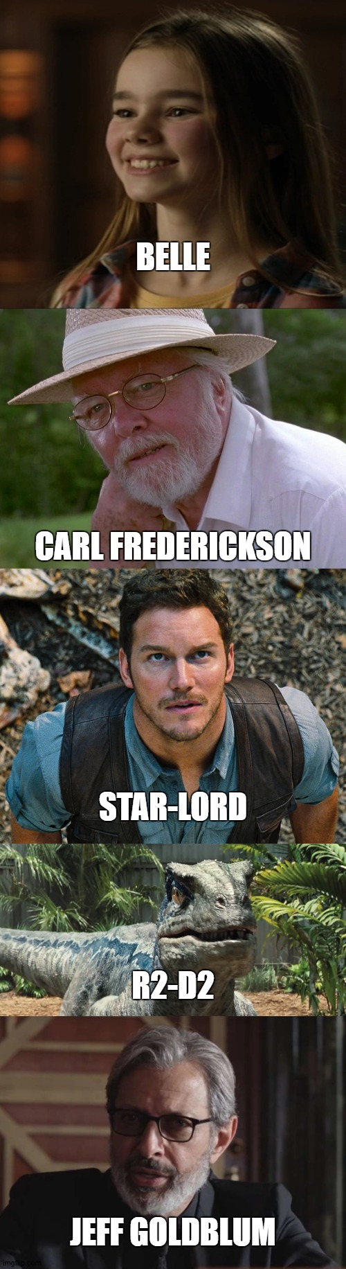 Disney Portrayed By Jurassic World 2: Jurassic Characters As Disney+ Characters |  BELLE; CARL FREDERICKSON; STAR-LORD; R2-D2; JEFF GOLDBLUM | image tagged in jurassic world,disney | made w/ Imgflip meme maker