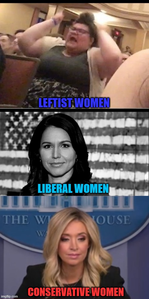 Liberals and Conservatives definitely have their hotties. Leftists, not so much |  LEFTIST WOMEN; LIBERAL WOMEN; CONSERVATIVE WOMEN | image tagged in triggly puff,tulsi gabbard,kayleigh mcenany | made w/ Imgflip meme maker