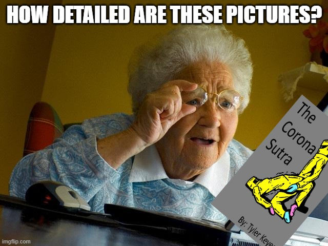 Grandma find the Corona Sutra meme |  HOW DETAILED ARE THESE PICTURES? | image tagged in memes,grandma finds the internet | made w/ Imgflip meme maker