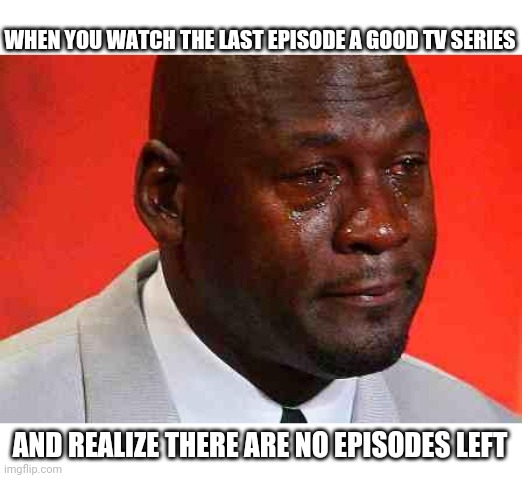 crying michael jordan |  WHEN YOU WATCH THE LAST EPISODE A GOOD TV SERIES; AND REALIZE THERE ARE NO EPISODES LEFT | image tagged in crying michael jordan | made w/ Imgflip meme maker