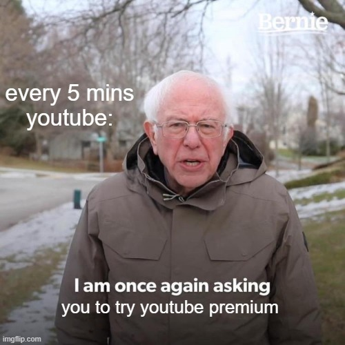 Bernie I Am Once Again Asking For Your Support |  every 5 mins youtube:; you to try youtube premium | image tagged in memes,bernie i am once again asking for your support | made w/ Imgflip meme maker