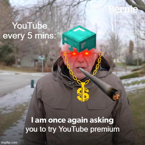 Bernie I Am Once Again Asking For Your Support |  YouTube every 5 mins:; you to try YouTube premium | image tagged in memes,bernie i am once again asking for your support | made w/ Imgflip meme maker