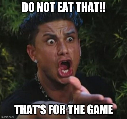 DJ Pauly D Meme | DO NOT EAT THAT!! THAT'S FOR THE GAME | image tagged in memes,dj pauly d | made w/ Imgflip meme maker