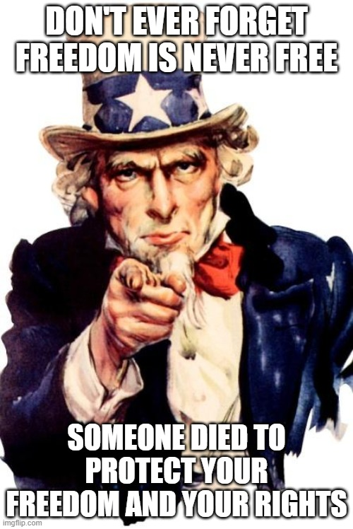 Uncle Sam |  DON'T EVER FORGET FREEDOM IS NEVER FREE; SOMEONE DIED TO PROTECT YOUR FREEDOM AND YOUR RIGHTS | image tagged in uncle sam | made w/ Imgflip meme maker