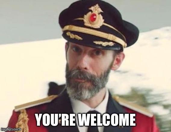 YOU'RE WELCOME | image tagged in captain obvious | made w/ Imgflip meme maker