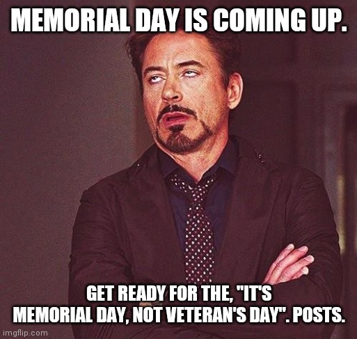 "Robert Downey Jr Annoyed |  MEMORIAL DAY IS COMING UP. GET READY FOR THE, ""IT'S MEMORIAL DAY, NOT VETERAN'S DAY"". POSTS. 
