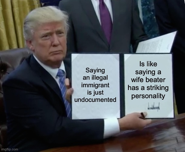 Trump Bill Signing |  Is like saying a wife beater has a striking personality; Saying an illegal immigrant is just undocumented | image tagged in memes,trump bill signing,illegal immigration | made w/ Imgflip meme maker