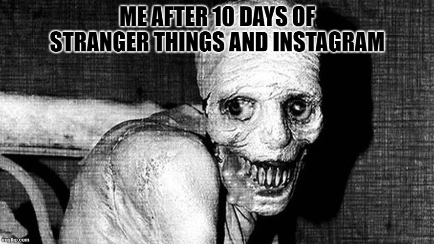 ME AFTER 10 DAYS OF STRANGER THINGS AND INSTAGRAM | image tagged in russian sleep experiment | made w/ Imgflip meme maker