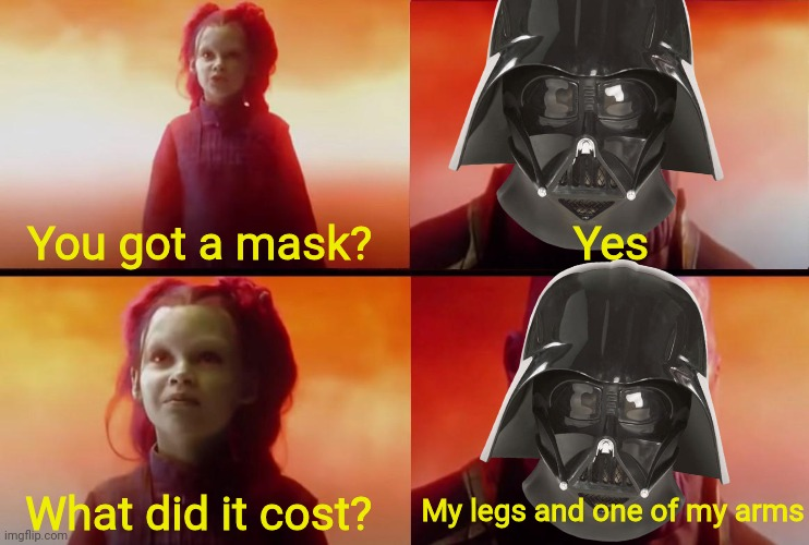 Will you? |  You got a mask? Yes; My legs and one of my arms; What did it cost? | image tagged in thanos what did it cost,mask,darth vader,star wars,marvel,covid-19 | made w/ Imgflip meme maker