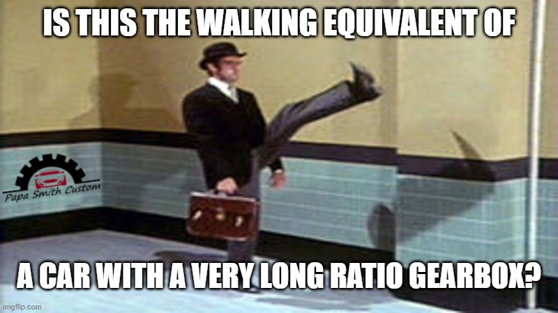 Not the Ministry of Transport, a different Ministry. |  IS THIS THE WALKING EQUIVALENT OF; A CAR WITH A VERY LONG RATIO GEARBOX? | image tagged in ministry of silly walks,walking,gears,long,cars,car memes | made w/ Imgflip meme maker