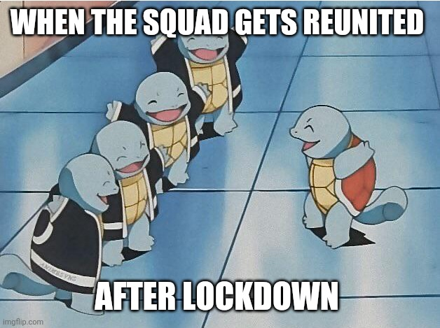 Hope its soon |  WHEN THE SQUAD GETS REUNITED; AFTER LOCKDOWN | image tagged in squirtle squad,memes,squad goals | made w/ Imgflip meme maker