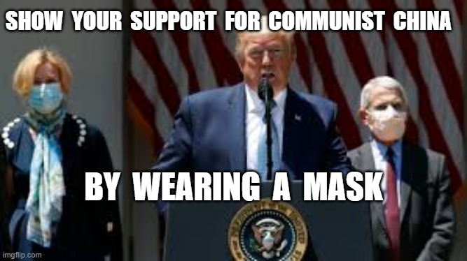 SHOW  YOUR  SUPPORT  FOR  COMMUNIST  CHINA; BY  WEARING  A  MASK | image tagged in coronavirus,covid19,masks,plandemic,hoax | made w/ Imgflip meme maker