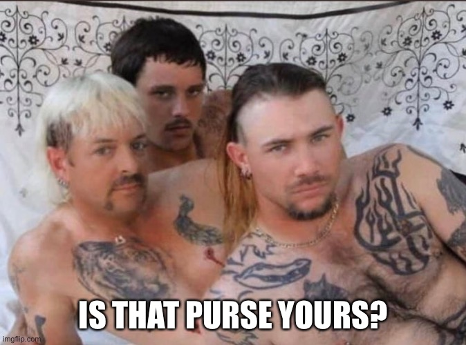 Tiger King and Cubs | IS THAT PURSE YOURS? | image tagged in tiger king and cubs | made w/ Imgflip meme maker