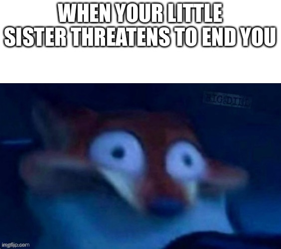 My sister made this one. -_- |  WHEN YOUR LITTLE SISTER THREATENS TO END YOU | image tagged in nick wilde,siblings,memes | made w/ Imgflip meme maker