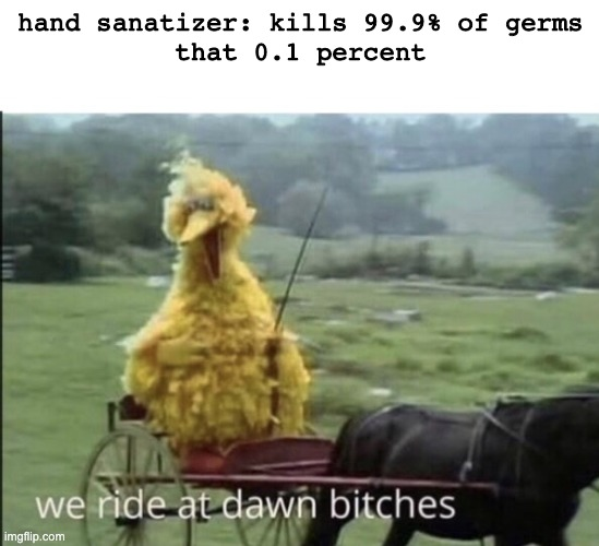 We ride at dawn bitches |  hand sanatizer: kills 99.9% of germs that 0.1 percent | image tagged in we ride at dawn bitches,memes | made w/ Imgflip meme maker