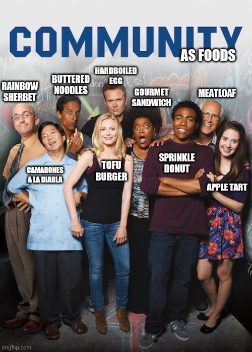 Community as foods |  AS FOODS; HARDBOILED EGG; BUTTERED NOODLES; RAINBOW SHERBET; MEATLOAF; GOURMET SANDWICH; SPRINKLE DONUT; TOFU BURGER; CAMARONES A LA DIABLA; APPLE TART | image tagged in tv show,community | made w/ Imgflip meme maker