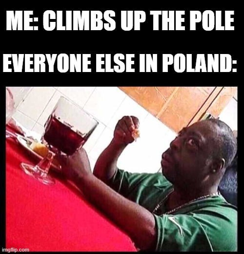 Bruh |  ME: CLIMBS UP THE POLE; EVERYONE ELSE IN POLAND: | image tagged in black man eating,meme,unsettled tom,poland,memes | made w/ Imgflip meme maker
