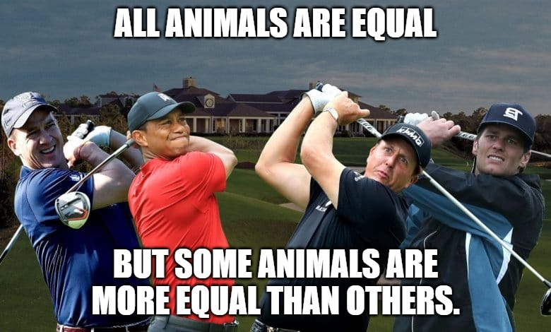 Corona Privilege |  ALL ANIMALS ARE EQUAL; BUT SOME ANIMALS ARE MORE EQUAL THAN OTHERS. | image tagged in the match,animal farm,tiger woods,tom brady,peyton manning,phil mickelson | made w/ Imgflip meme maker