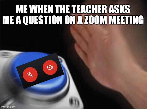 Blank Nut Button Meme | ME WHEN THE TEACHER ASKS ME A QUESTION ON A ZOOM MEETING | image tagged in memes,blank nut button | made w/ Imgflip meme maker