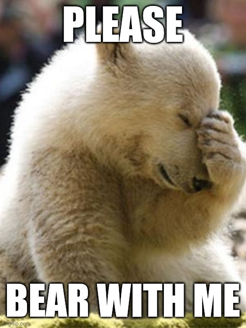 Bear with me |  PLEASE; BEAR WITH ME | image tagged in memes,facepalm bear | made w/ Imgflip meme maker