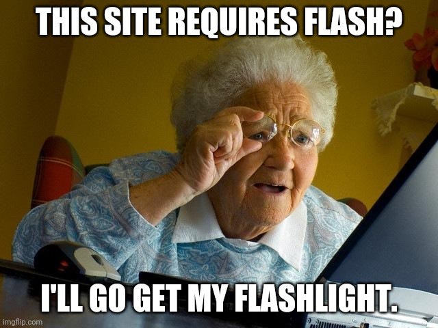 Grandma Finds The Internet |  THIS SITE REQUIRES FLASH? I'LL GO GET MY FLASHLIGHT. | image tagged in memes,grandma finds the internet | made w/ Imgflip meme maker