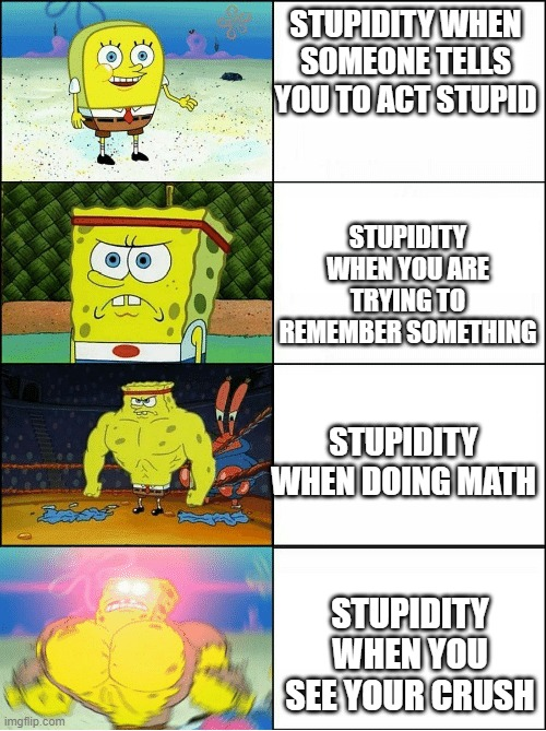 Sponge Finna Commit Muder |  STUPIDITY WHEN SOMEONE TELLS YOU TO ACT STUPID; STUPIDITY WHEN YOU ARE TRYING TO REMEMBER SOMETHING; STUPIDITY WHEN DOING MATH; STUPIDITY WHEN YOU SEE YOUR CRUSH | image tagged in sponge finna commit muder | made w/ Imgflip meme maker