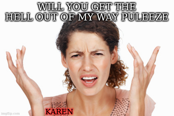 Indignant | WILL YOU GET THE HELL OUT OF MY WAY PULEEZE KAREN | image tagged in indignant | made w/ Imgflip meme maker