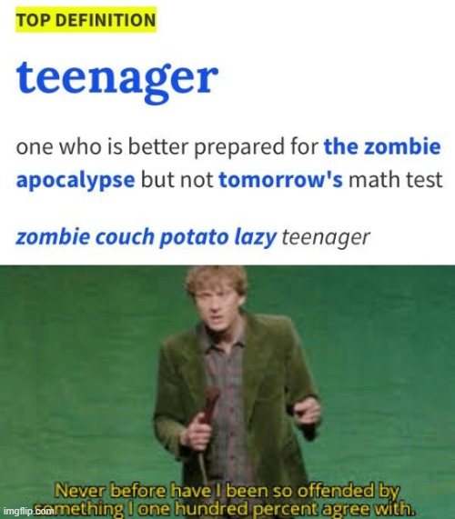 I bet everyone agrees wth this | image tagged in i have never been so offended,memes,funny,teen,zombies | made w/ Imgflip meme maker