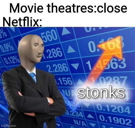 stonks |  Movie theatres:close; Netflix: | image tagged in blank white template,stonks | made w/ Imgflip meme maker