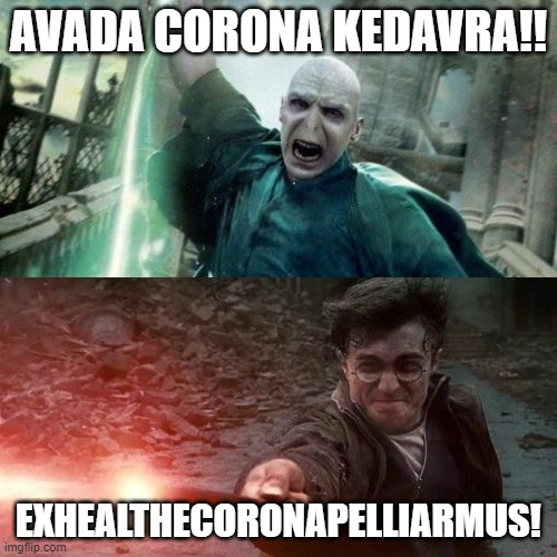 Harry Potter meme |  AVADA CORONA KEDAVRA!! EXHEALTHECORONAPELLIARMUS! | image tagged in harry potter meme | made w/ Imgflip meme maker