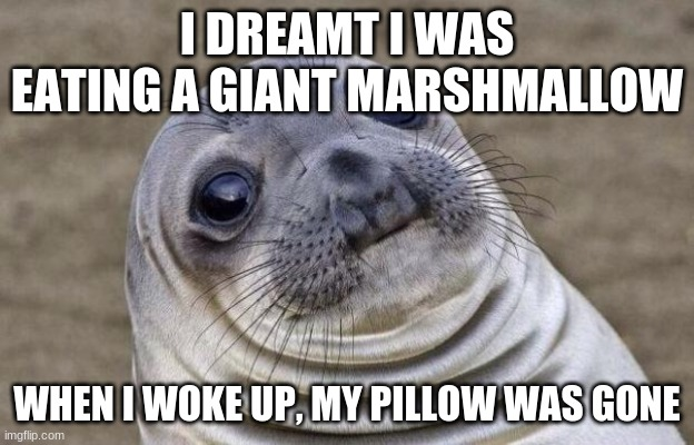 Awkward Moment Sealion |  I DREAMT I WAS EATING A GIANT MARSHMALLOW; WHEN I WOKE UP, MY PILLOW WAS GONE | image tagged in memes,awkward moment sealion | made w/ Imgflip meme maker