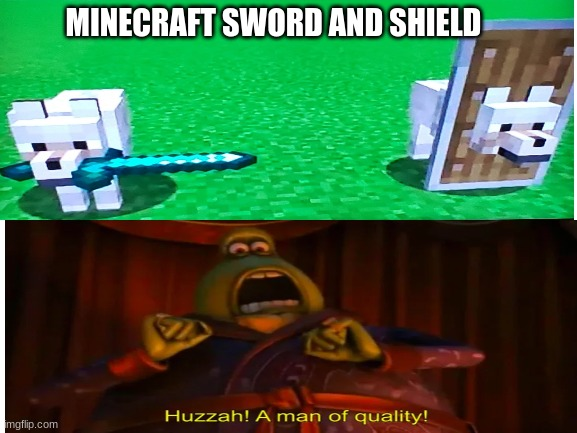 noice |  MINECRAFT SWORD AND SHIELD | image tagged in pokemon,minecraft,funny | made w/ Imgflip meme maker