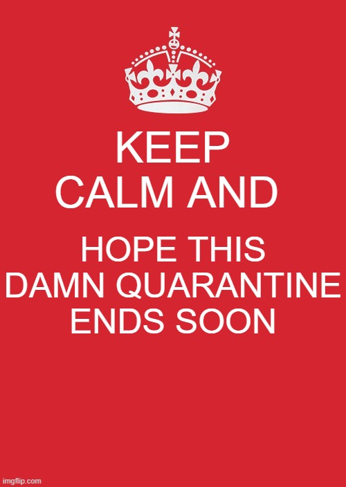 I HATE THIS DAMN QUARANTINE! |  KEEP CALM AND; HOPE THIS DAMN QUARANTINE ENDS SOON | image tagged in memes,keep calm and carry on red,coronavirus,covid-19,quarantine | made w/ Imgflip meme maker