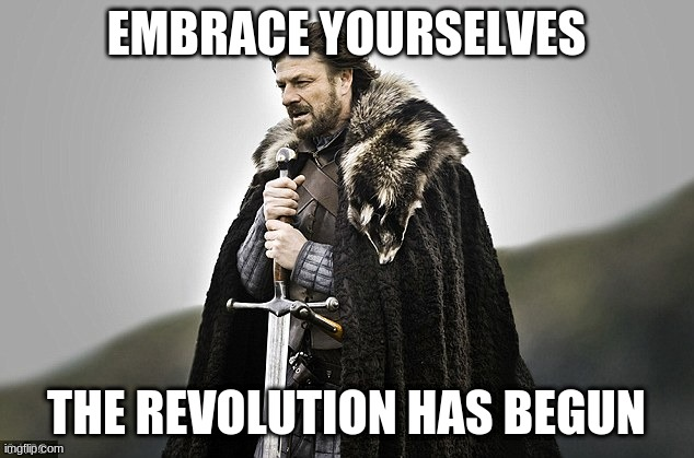 Embrace yourselves |  EMBRACE YOURSELVES; THE REVOLUTION HAS BEGUN | image tagged in embrace yourselves | made w/ Imgflip meme maker